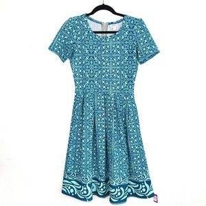 Lularoe Amelia Dress Blue Teal S Pleated 6 8 Print